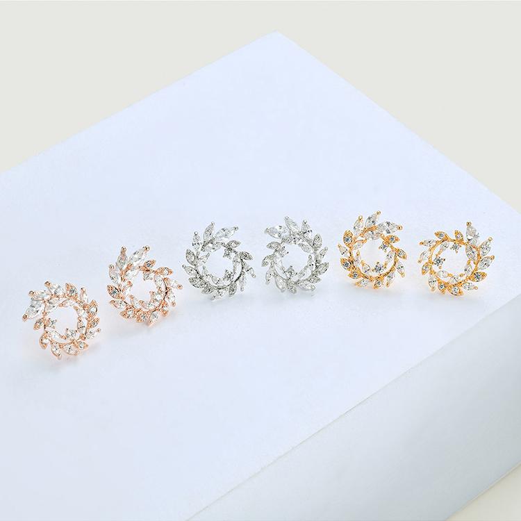 AAA Grade Zircon S925 Alloy Needle - Wheat Earrings (Platinum) NHKSE28681