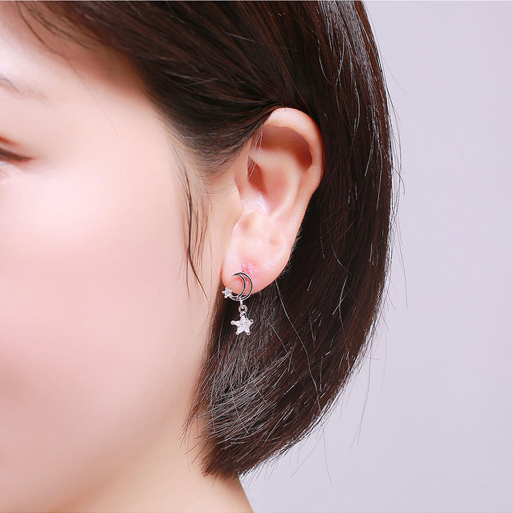 AAA Grade Zircon S925 Alloy Needle - Moon Star (Champagne Alloy) NHKSE28675