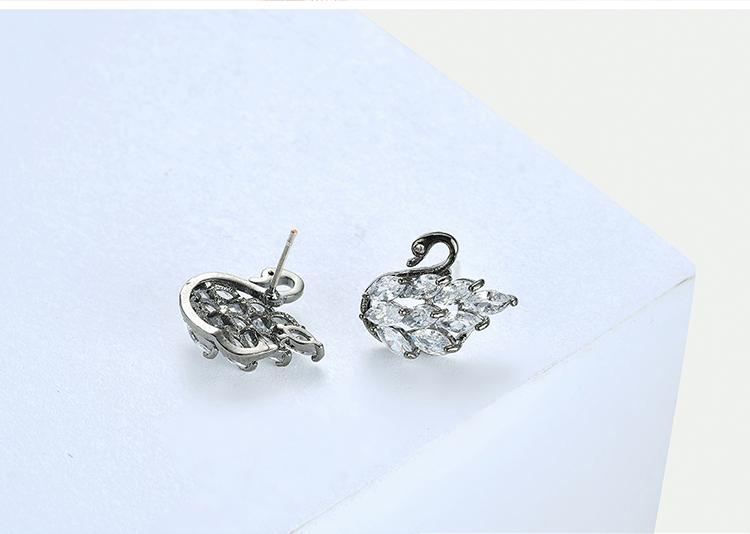 AAA Grade Zircon S925 Alloy Needle - Mini Little Swan (Black) NHKSE28688