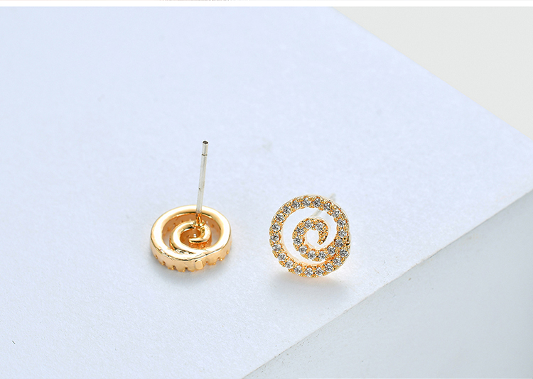 AAA Grade Zircon S925 Alloy Needle - Small Swirl (Champagne Alloy) NHKSE28691