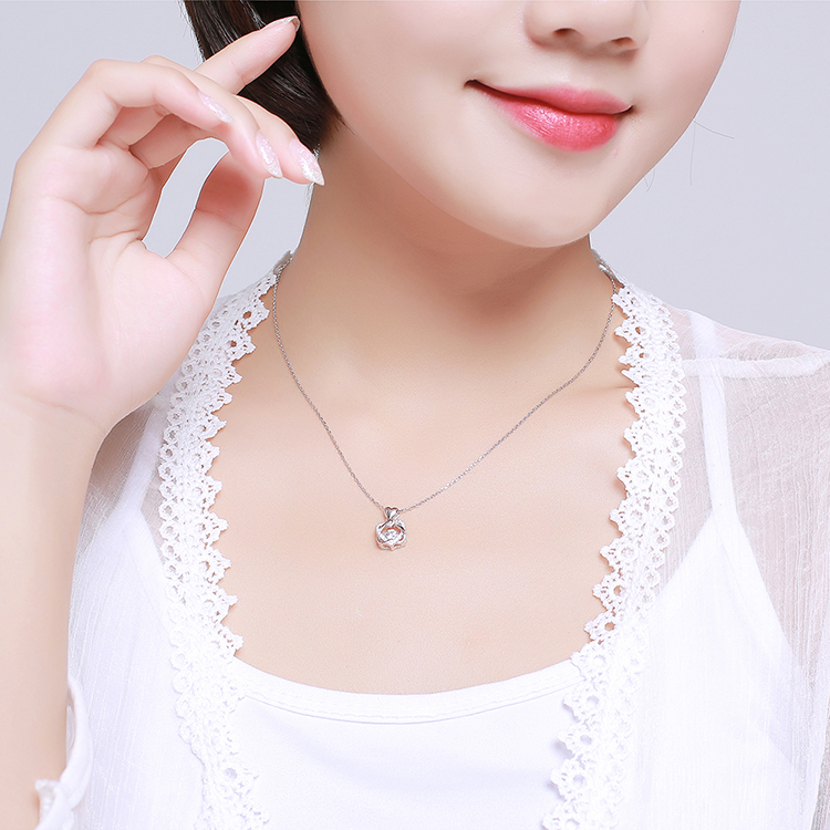S925 sterling alloy smart necklace - double heart love NHKSE28707