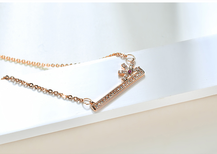 AAA microinlaid zircon necklace  lifelong love champagne alloy NHKSE28714