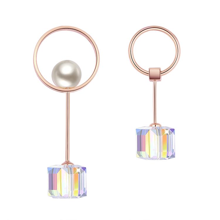 Austrian imitated crystal earrings - hard work (Champagne alloy + white) NHKSE28915