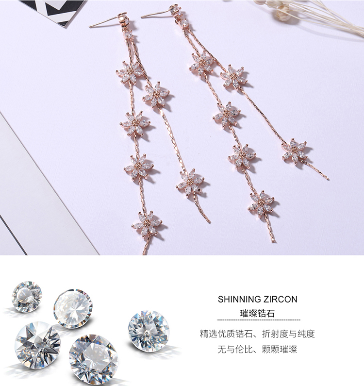 AAA grade zircon S925 alloy needle - flower sky (rose alloy) NHKSE28929
