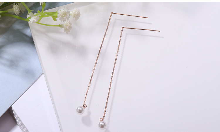 Plated alloy beads long earrings (champagne alloy) NHKSE28934