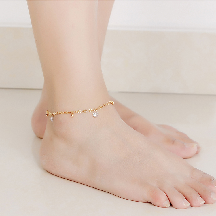 AAA zircon anklet - Starry (Champagne Alloy) NHKSE28940