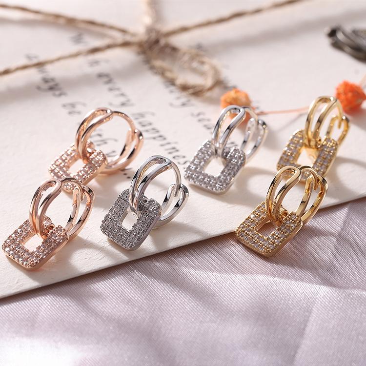 AAA Zircon EarringsFanghua Zhengmao Champagne Alloy NHKSE28944