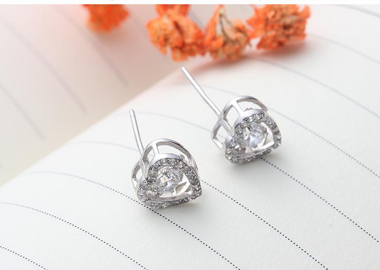 S925 sterling alloy smart earrings - beating heart NHKSE28949