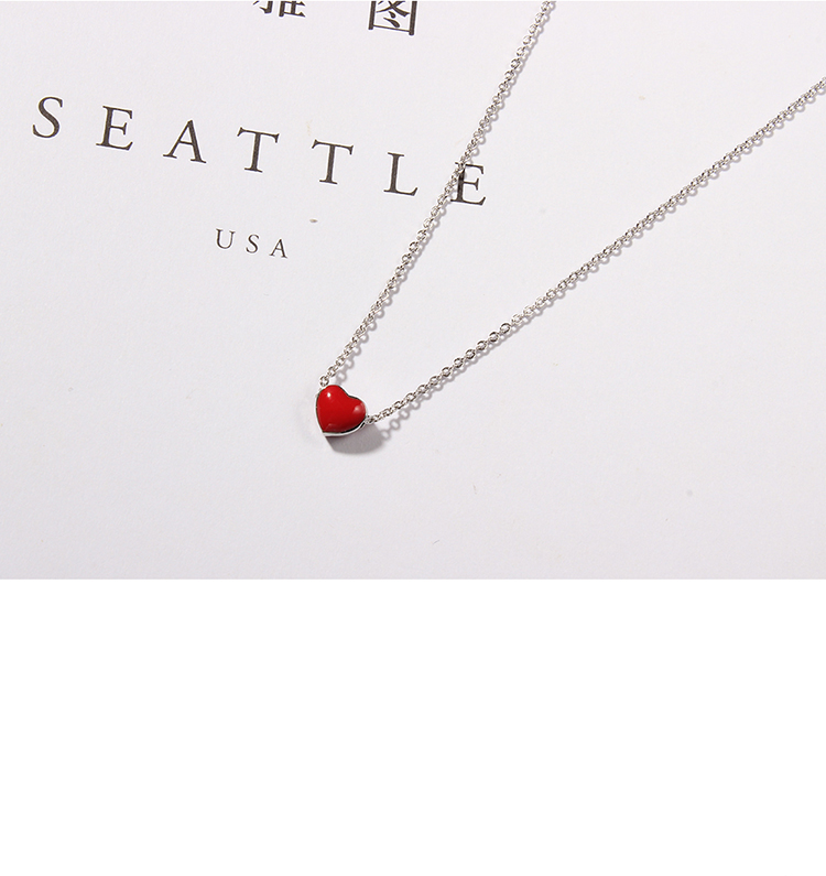 Cute sweet little red heart S925 alloy buckle necklace NHKSE28966