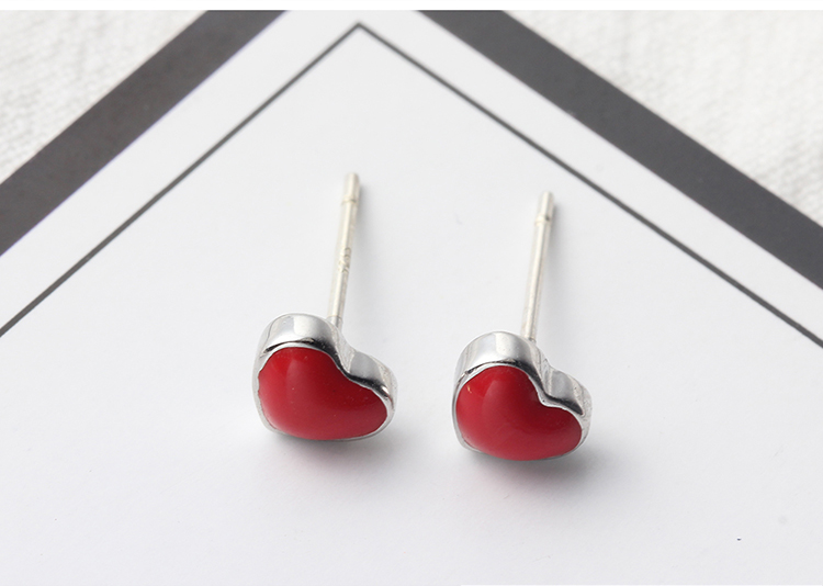 Cute sweet little red heart S925 alloy needle NHKSE28967