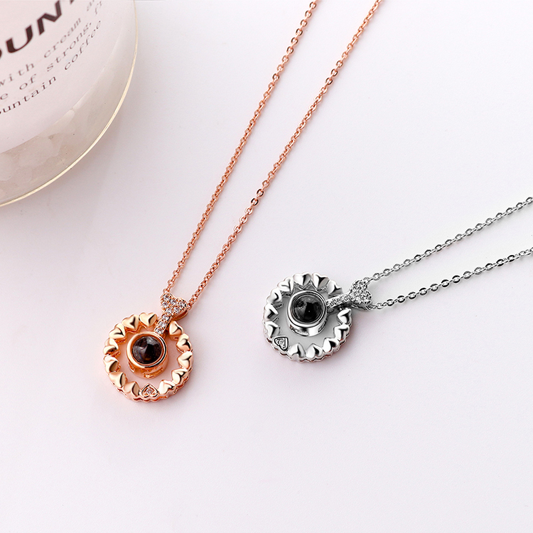 Plated with real alloy in 100 languages love you necklace  belated love platinum NHKSE28977