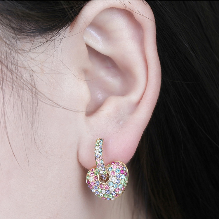 Imported Imitated crystal Earrings--Love and Love (Platinum + Color White) NHKSE28987