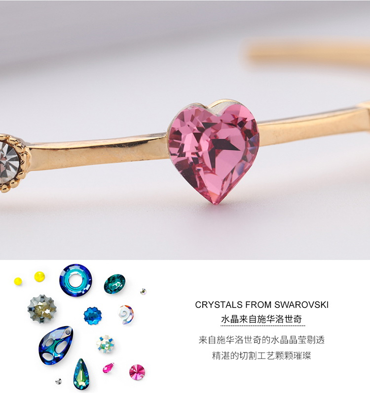 Austrian imitated crystal bracelet  love of the heart champagne alloy + sea blue NHKSE29011