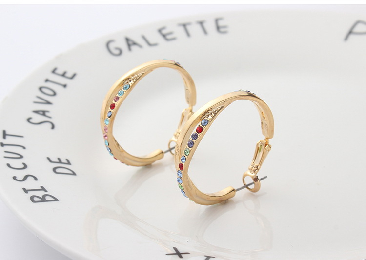 Imported Imitated crystal Earrings  Love Confession Champagne Alloy + Color White NHKSE29029