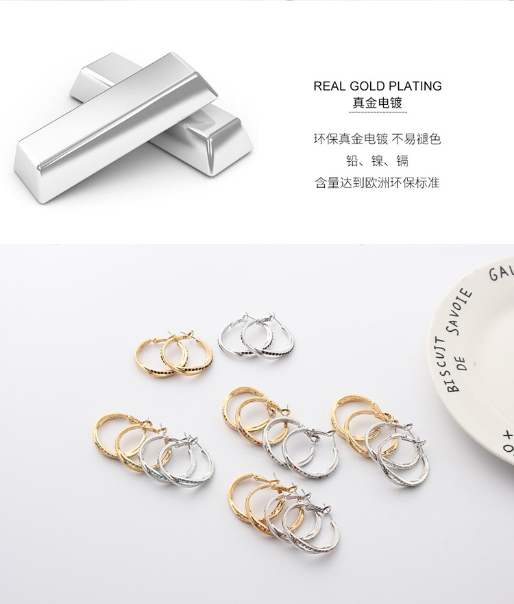 Imported Imitated crystal Earrings - Love Confession (Champagne Alloy + Color White) NHKSE29029