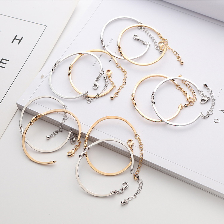 Imported Imitated crystal BraceletLove Heart Champagne Alloy + Color White NHKSE29059