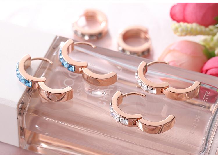 Austrian Imitated crystal Earrings - Love Wheel of Love (Rose Alloy + White) NHKSE29084