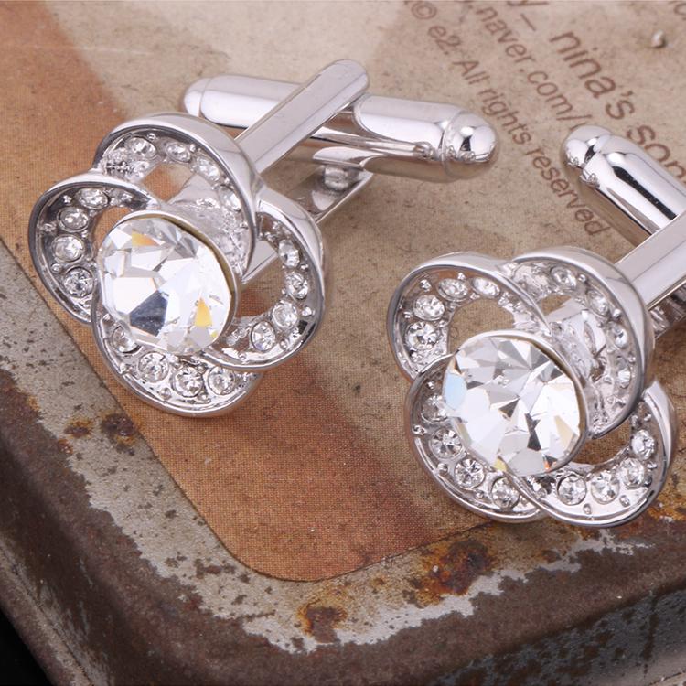 Austrian imitated crystal cufflinks  listening to the flower language sea blue NHKSE29177