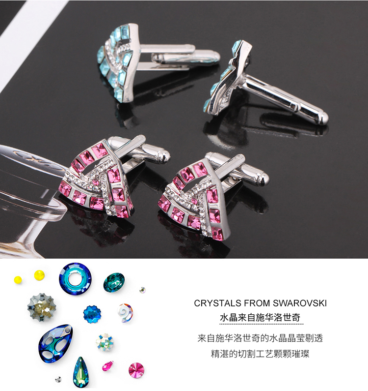 Austrian imitated crystal cufflinksonly love triangle rose red NHKSE29210