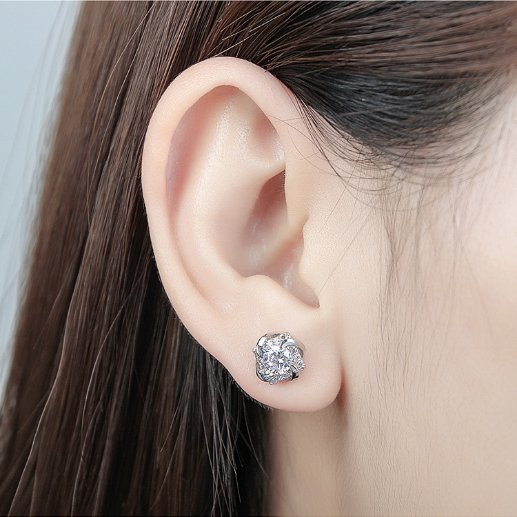 AAA Grade Zircon S925 Alloy Needle - Glittery (Rose Alloy) NHKSE29213