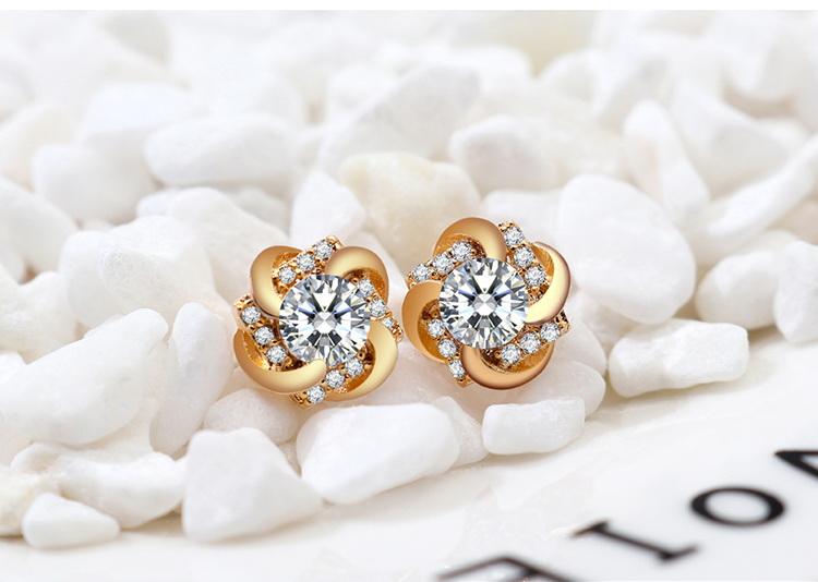 AAA Grade Zircon S925 Alloy Needle Necklace Set - Glittery (Rose Alloy) NHKSE29219