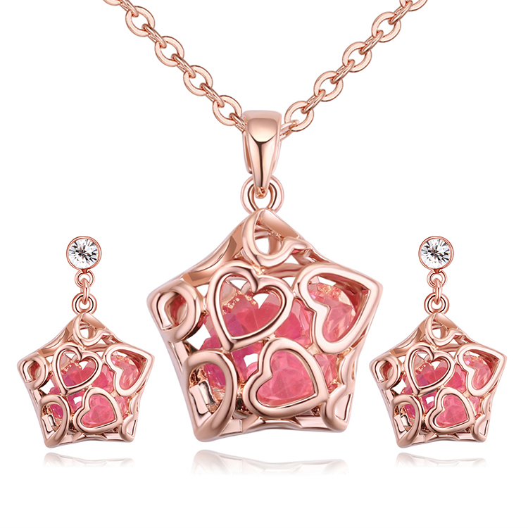 Plated alloy set - star pets (rose alloy + pink) NHKSE29234