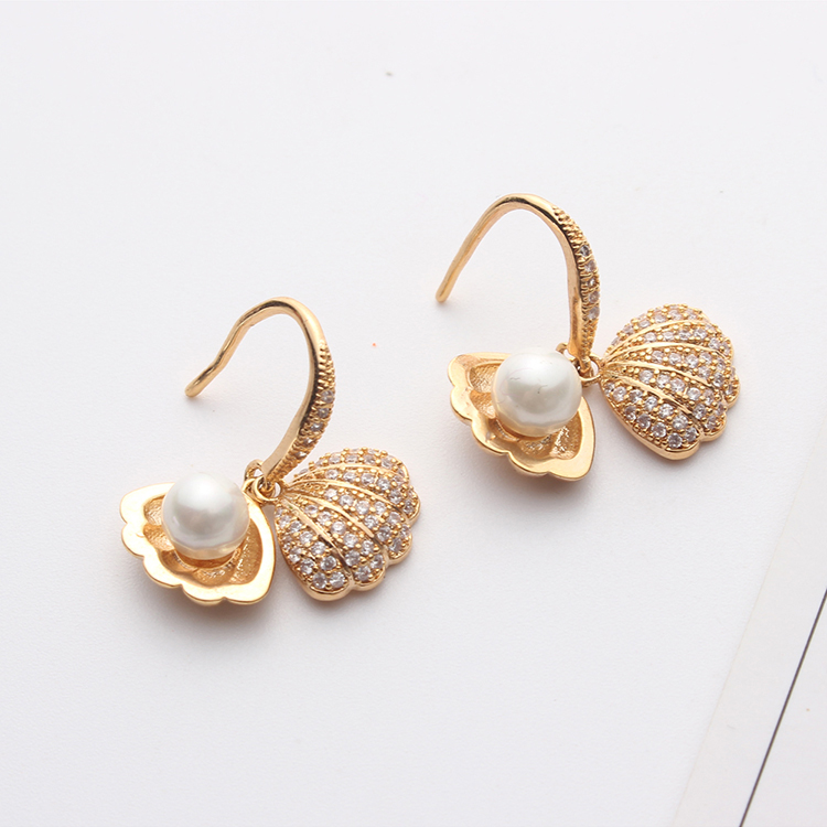 AAA micro-inlaid zircon - beads shell (champagne alloy) NHKSE29254