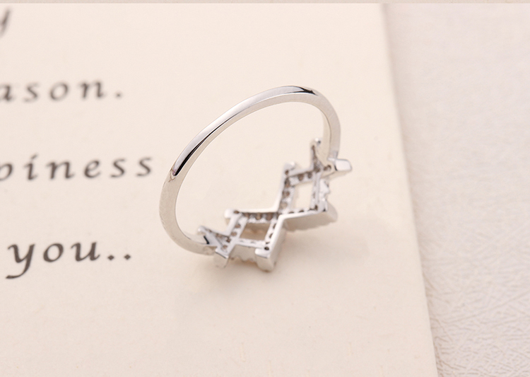 AAA micro-inlaid zircon ring - tightly connected (platinum) NHKSE29264-8