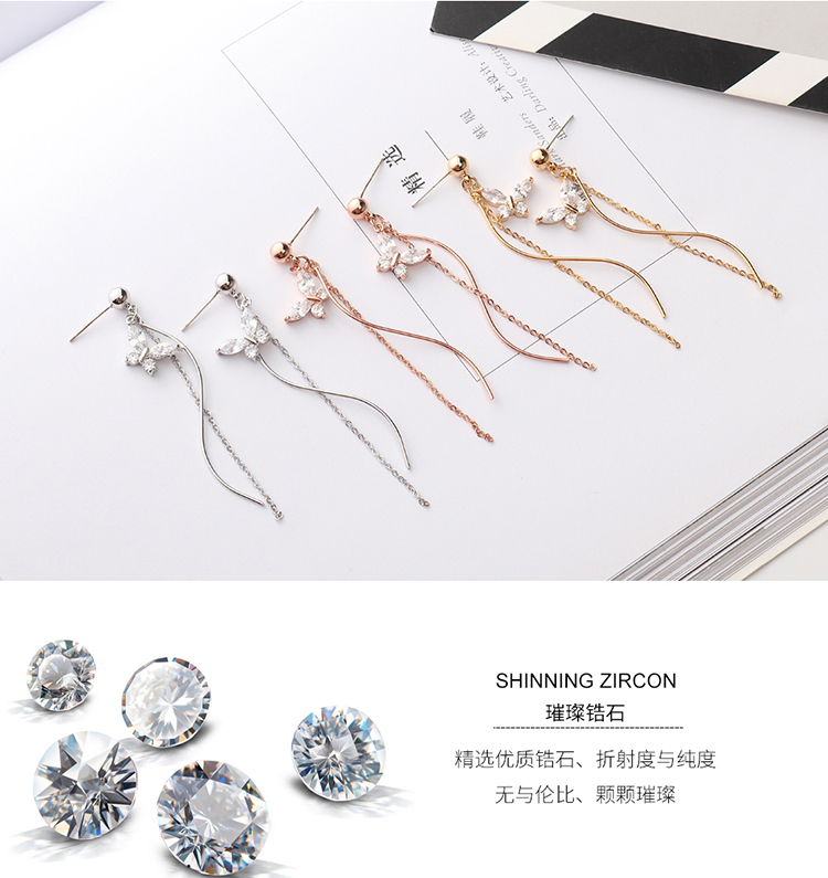 AAA Grade Zircon S925 Alloy Needle  Butterfly Tassel Platinum NHKSE29267