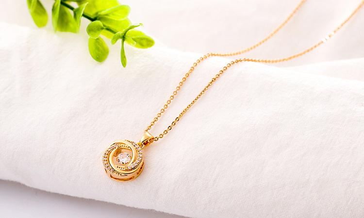 AAA Zircon Smart Necklace  Meet Love Champagne Alloy NHKSE29276