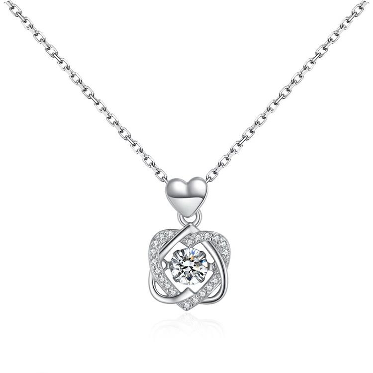 AAA Zircon Smart NecklaceDouble Heart Love Platinum NHKSE29288