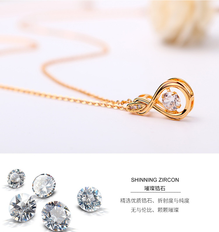 AAA zircon smart necklace  true heart rose alloy NHKSE29300