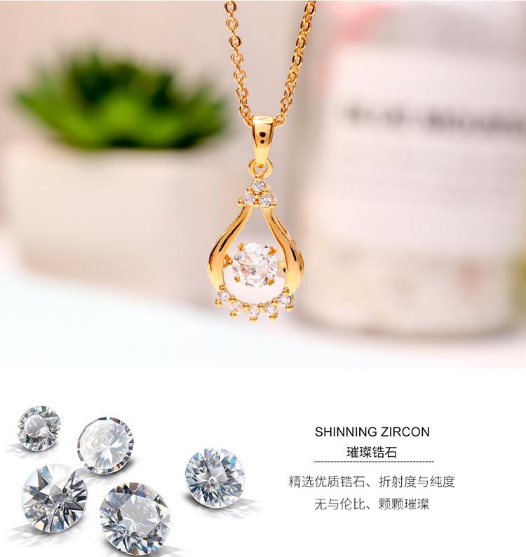 AAA Zircon Smart Water Drop Champagne Alloy NHKSE29305