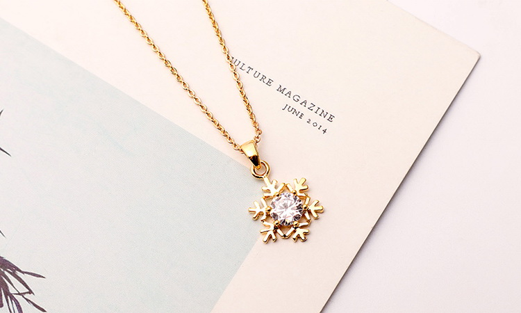 AAA Zircon Necklace - Snowflake (Champagne Alloy) NHKSE29309