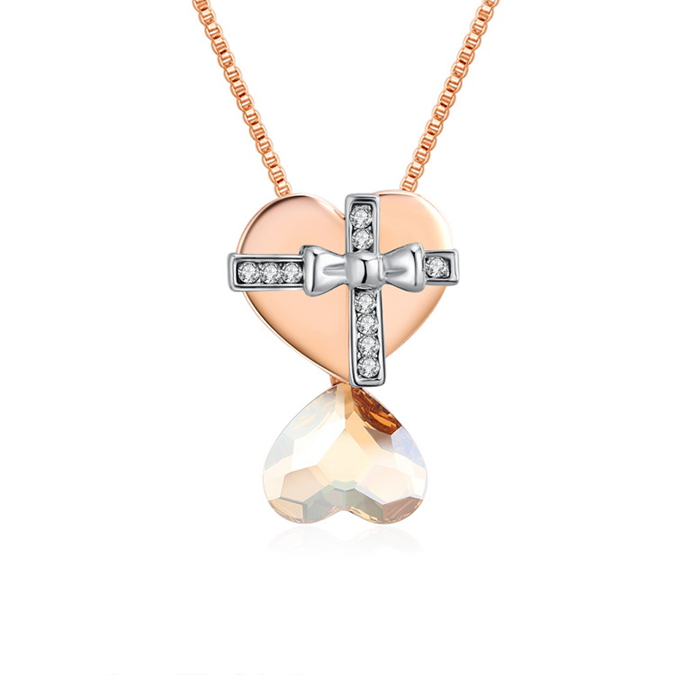 Austrian Imitated crystal Necklace - Hearts (Rose Alloy + Alloy Phantom) NHKSE29349
