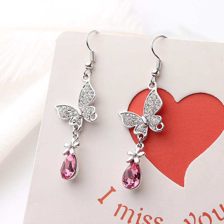 Austrian Imitated crystal EarringsFlower Butterfly Tanzanite NHKSE29358