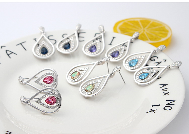 Austrian Imitated crystal Earrings  Love of Water Drops Sea Blue NHKSE29363