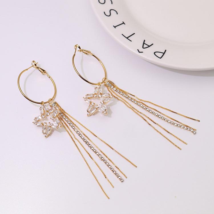 AAA Zircon EarringsIce Flower Champagne Alloy NHKSE29372