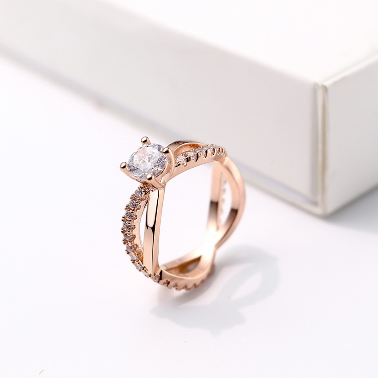 AAA microinlaid zircon ringLove River Rose Alloy NHKSE293767