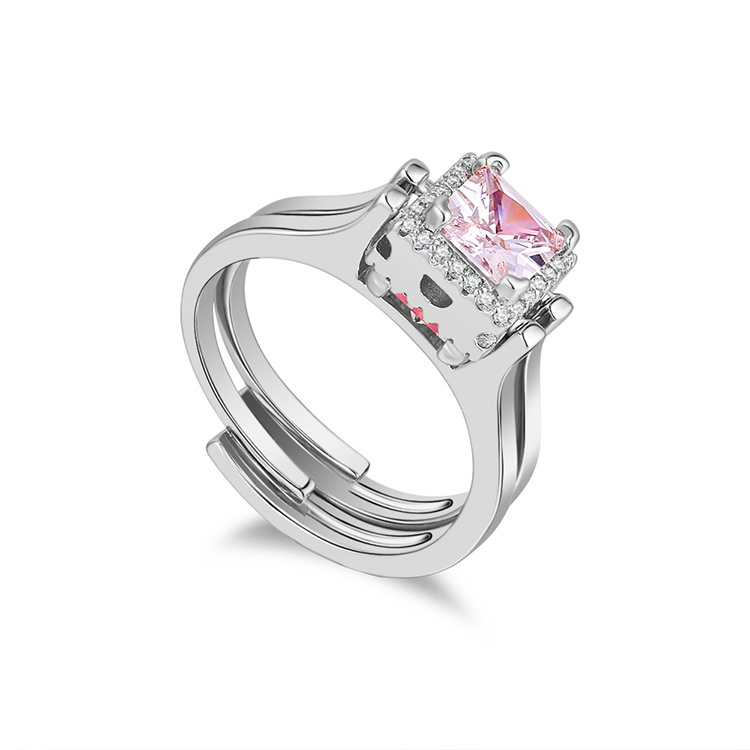 Shaking Voice Network Red Reversible Double-sided Ring--Happy Cube (Platinum) NHKSE29551-7