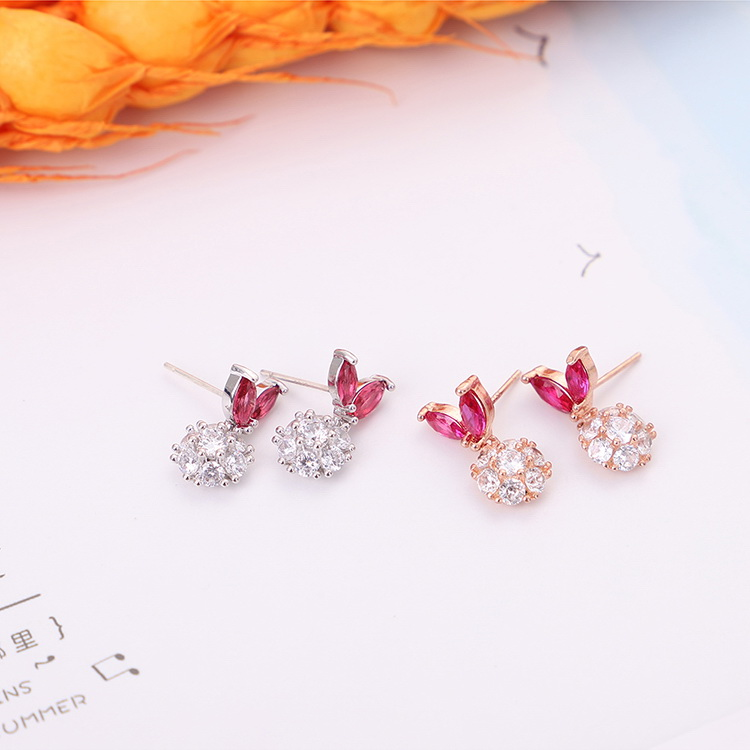 AAA grade zircon S925 alloy needle  leaves rabbit ears rose alloy NHKSE29555