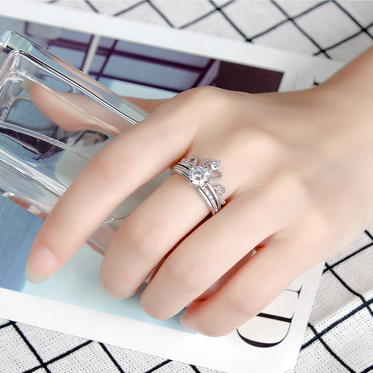 Net red one two-piece ring - charm crown (platinum) NHKSE29557-7