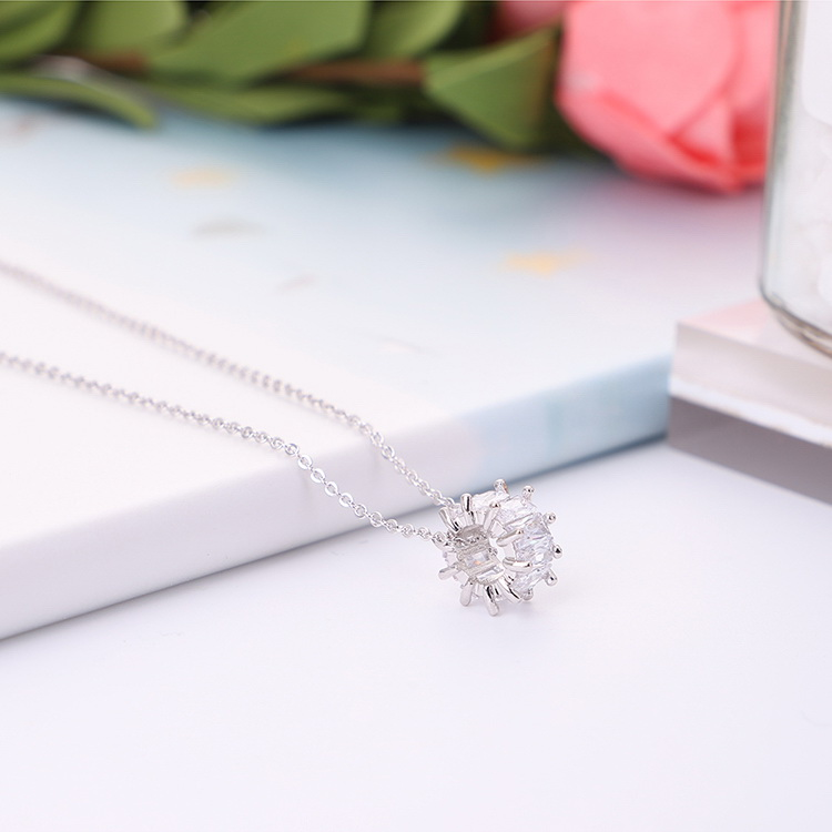 AAA zircon necklace  time is beautiful champagne alloy NHKSE29565