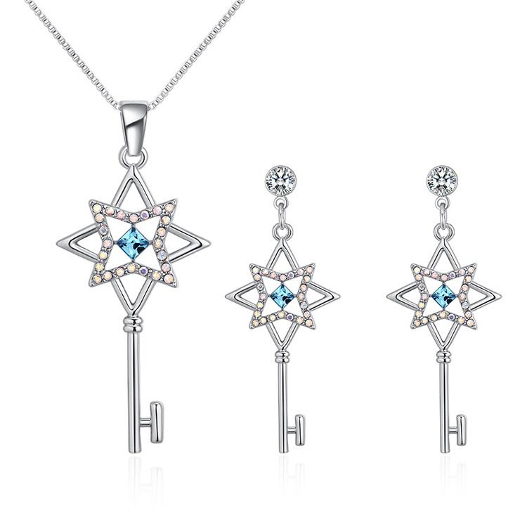 Austrian Imitated crystal Set - Flower Spoon (Sea Blue) NHKSE29583