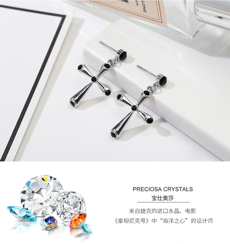 Imported Imitated crystal Earrings  Love and Peace Black NHKSE29609