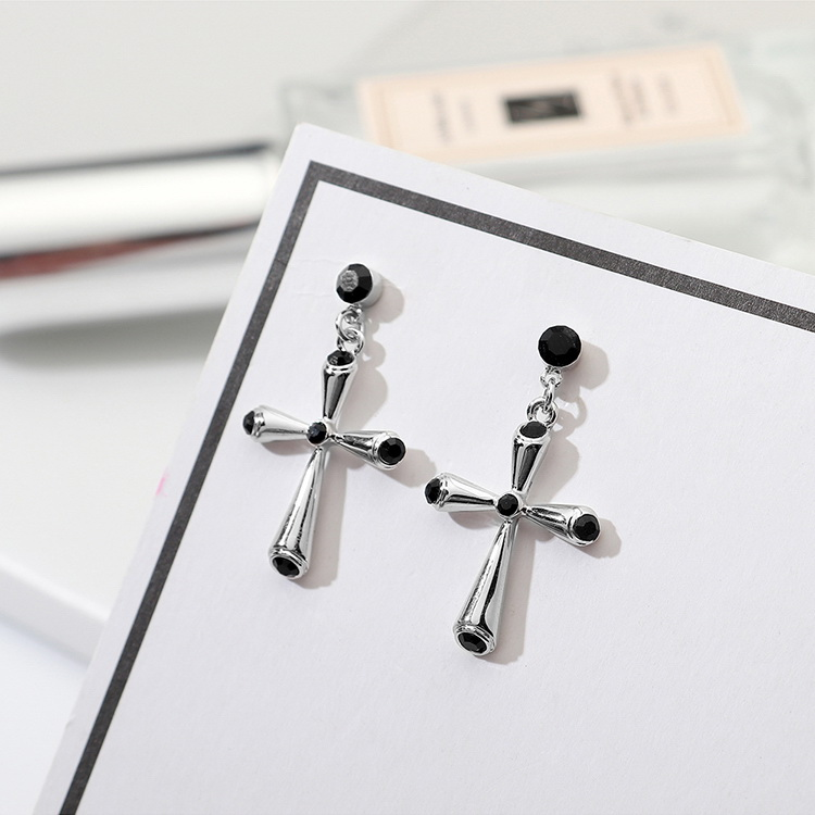 Imported Imitated crystal Earrings - Love and Peace (Black) NHKSE29609