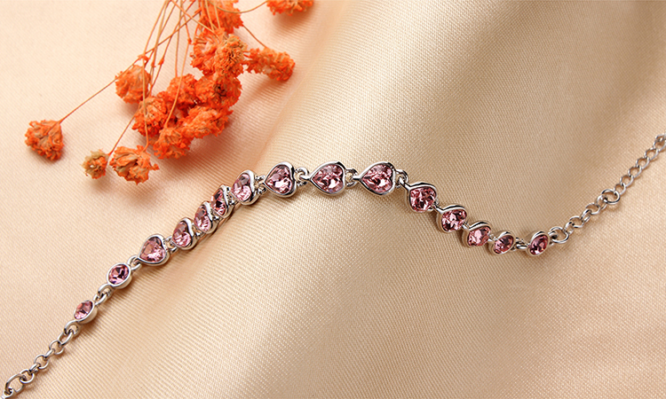 Austrian Imitated crystal Bracelet  Love Rose Red NHKSE29628