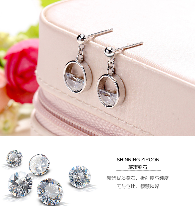 AAA Grade Zircon S925 Alloy Needle Earrings--Clean Spring (Platinum) NHKSE29631