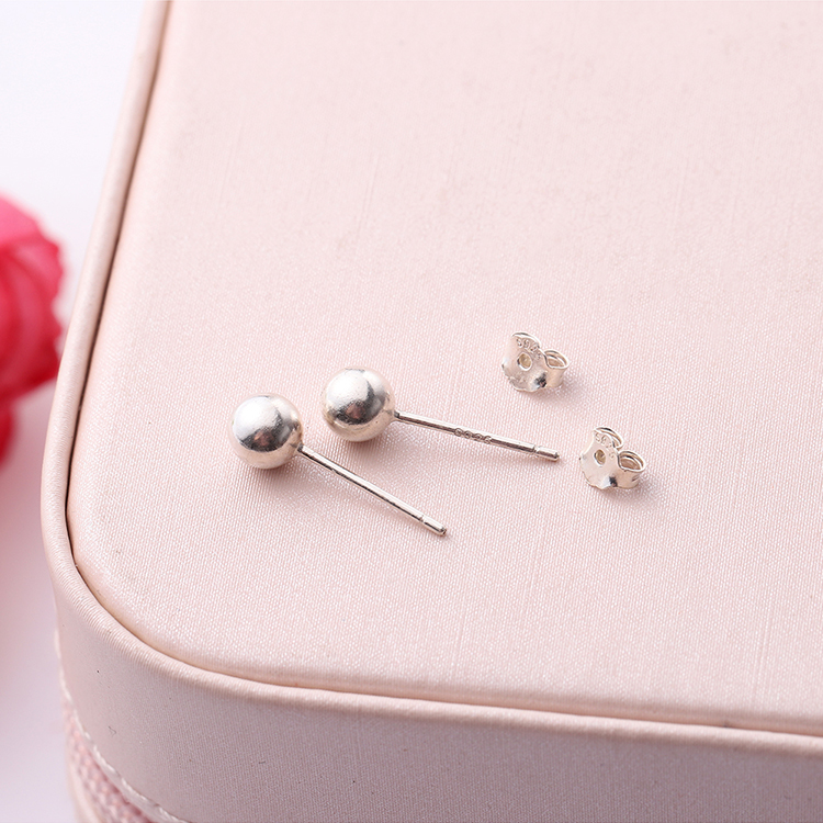 S925 small round beads of pure alloy earrings small (platinum) NHKSE29648