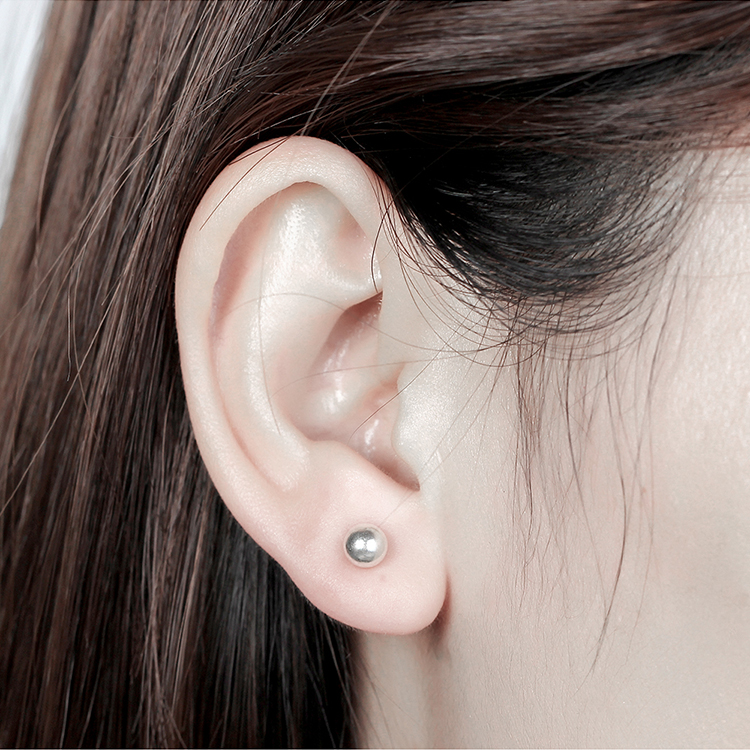 S925 small round beads of pure alloy earrings medium Platinum NHKSE29650
